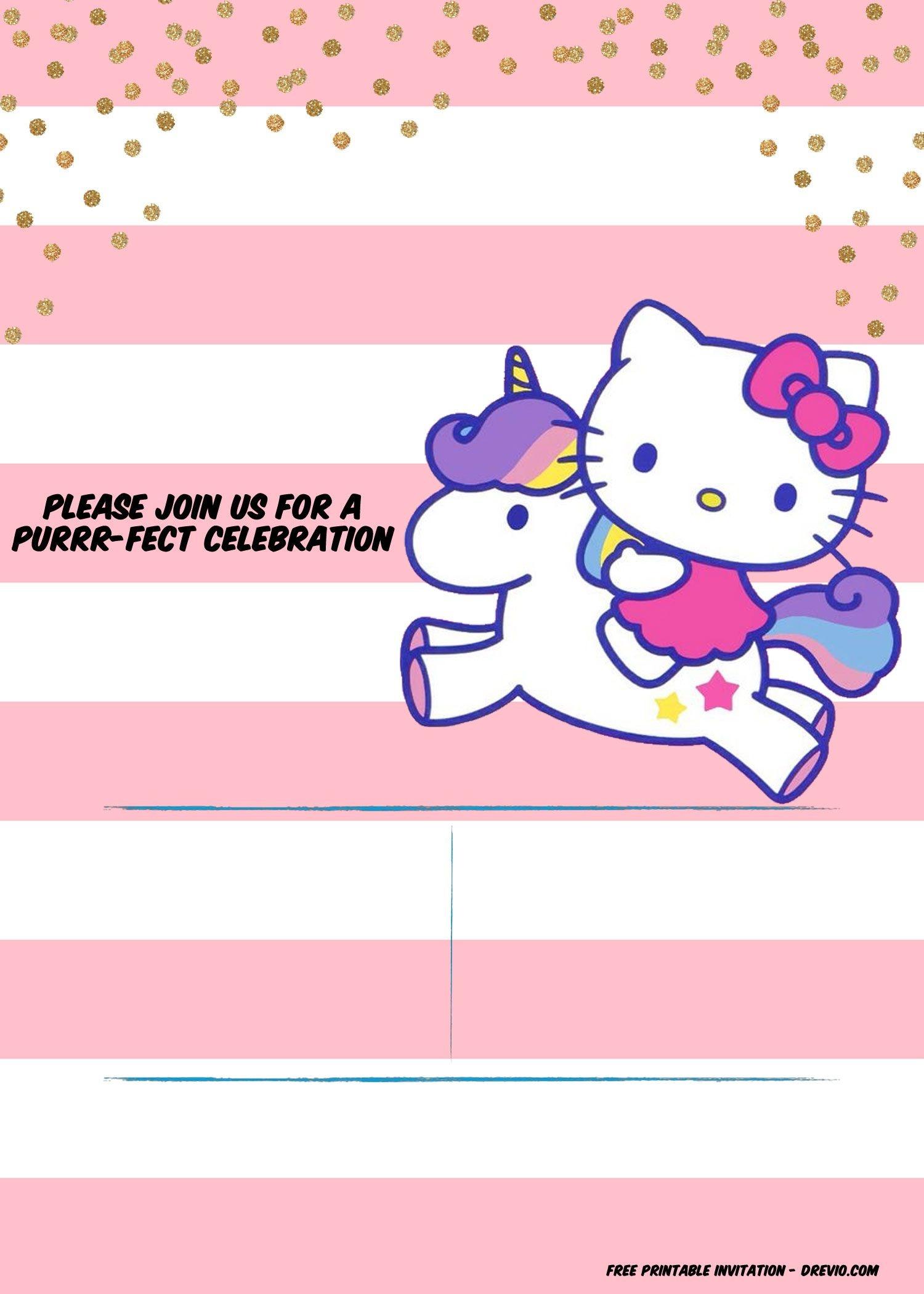 Hello Kitty Invitation Template - Portrait | Free Printable - Free Printable Hello Kitty Baby Shower Invitations