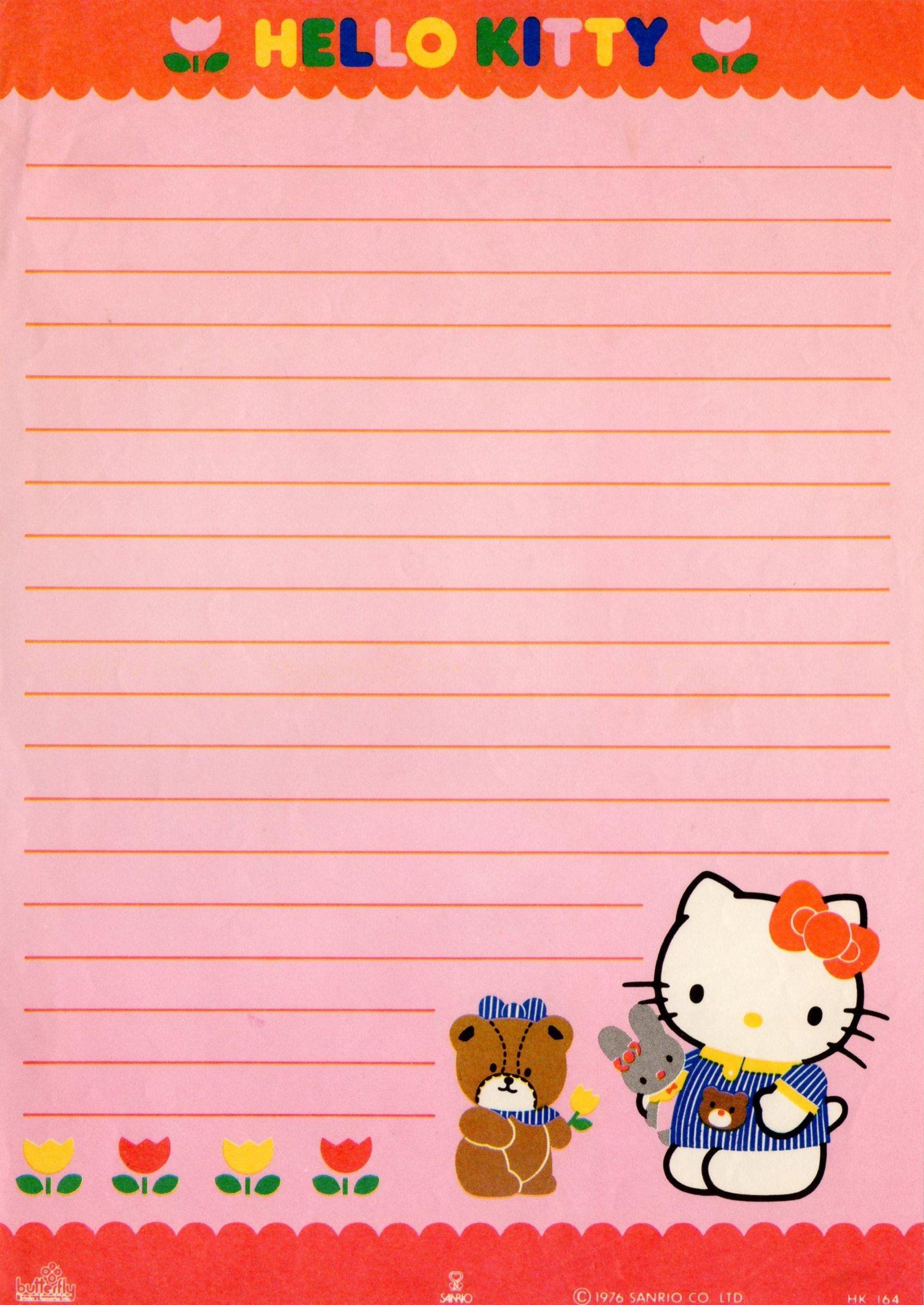 Hello Kitty Vintage Stationery Papel De Carta | Writing Paper - Free Printable Hello Kitty Stationery
