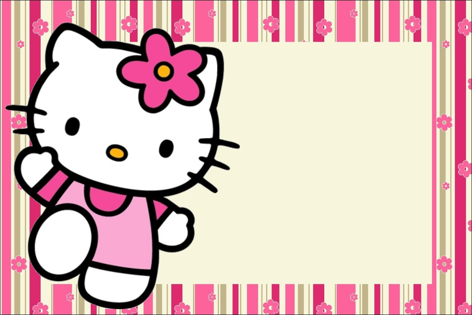 Hello Kitty With Flowers: Free Printable Invitations. - Oh My Fiesta - Hello Kitty Labels Printable Free