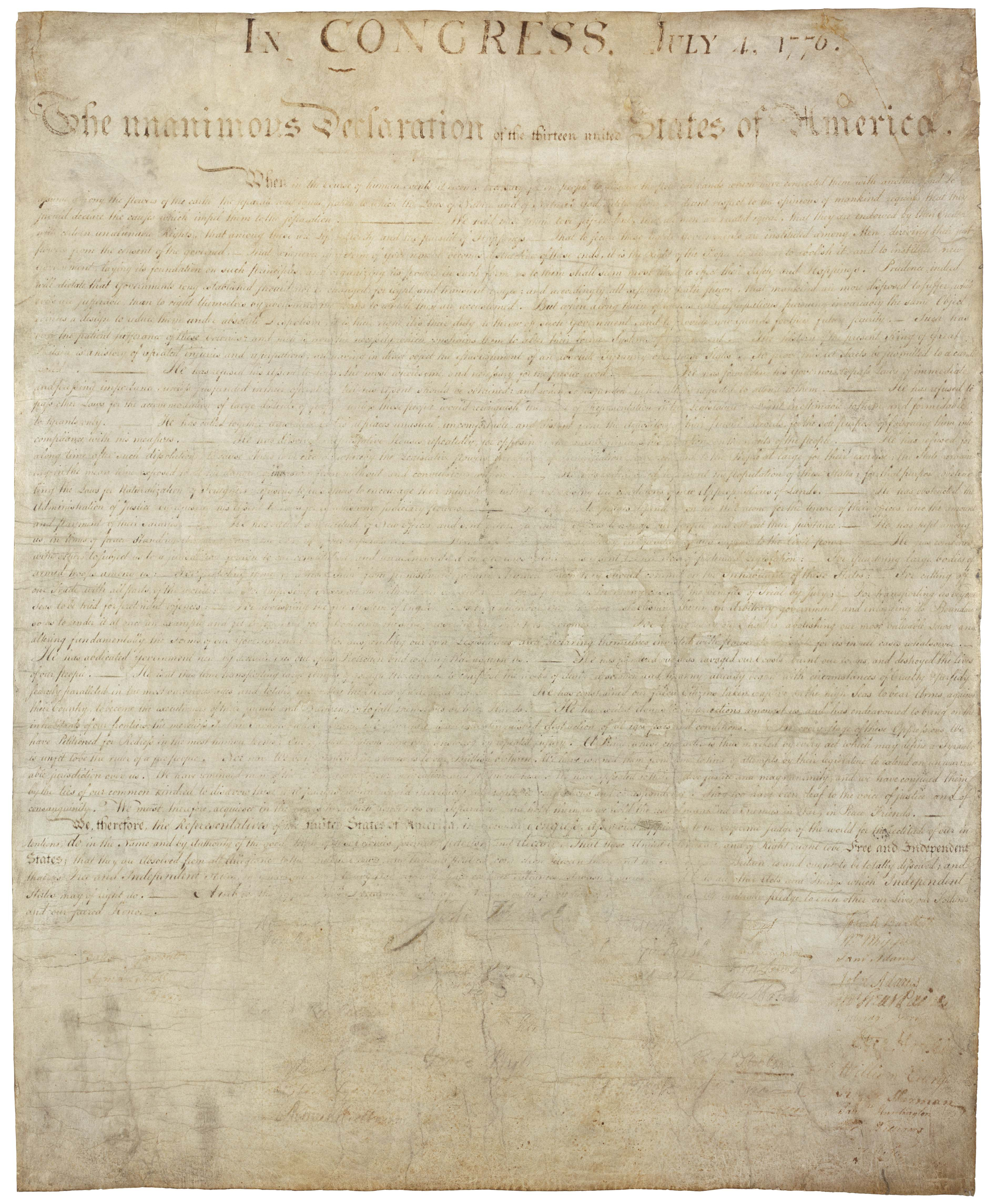 High Resolution Downloads   National Archives - Free Printable Copy Of The Declaration Of Independence