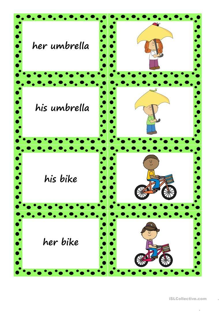His - Her - Their Memory Game Worksheet - Free Esl Printable - Free Printable Memory Exercises