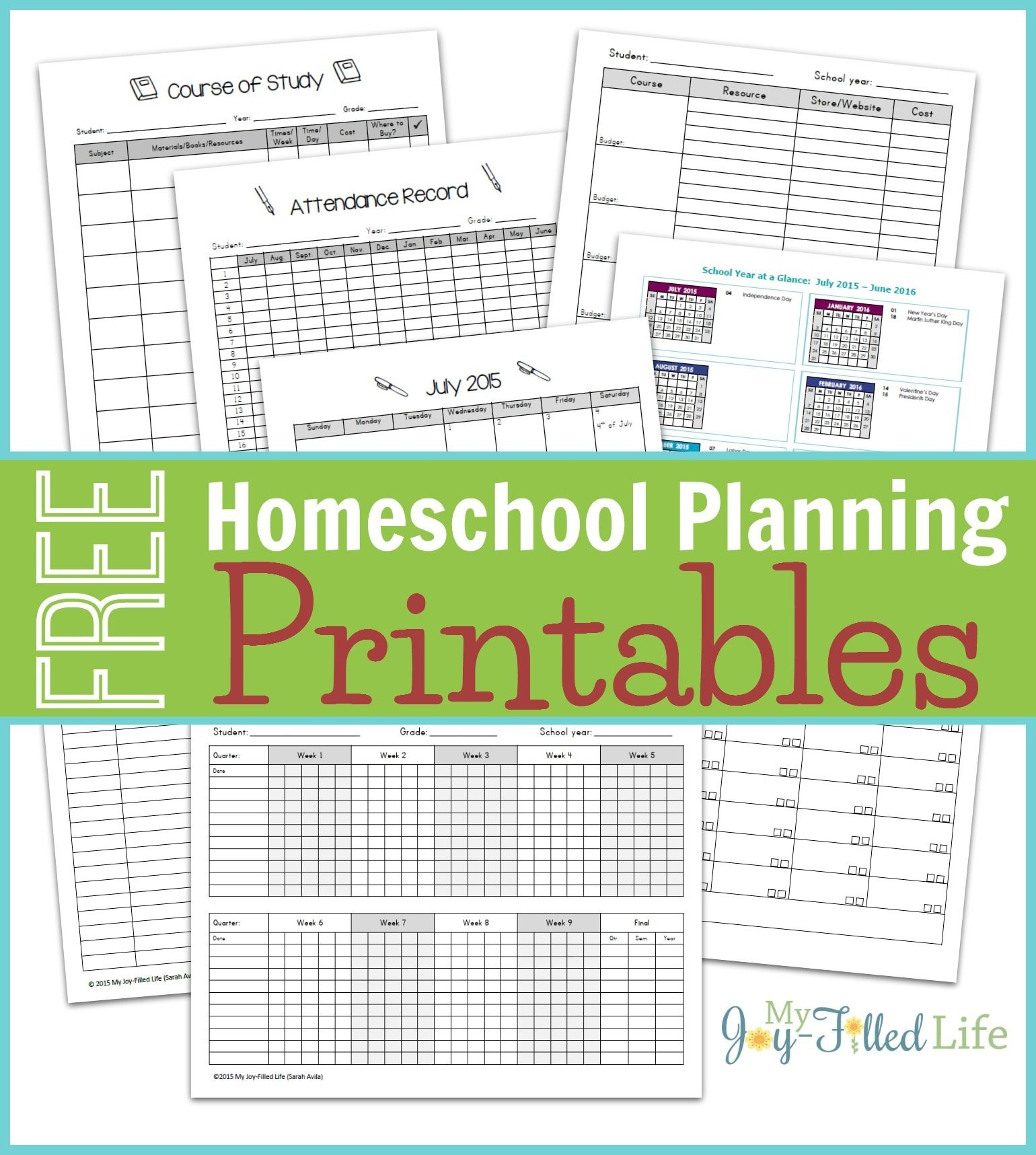 Homeschool Planning Resources & Free Printable Planning Pages - Free Printable Attendance Sheets For Homeschool