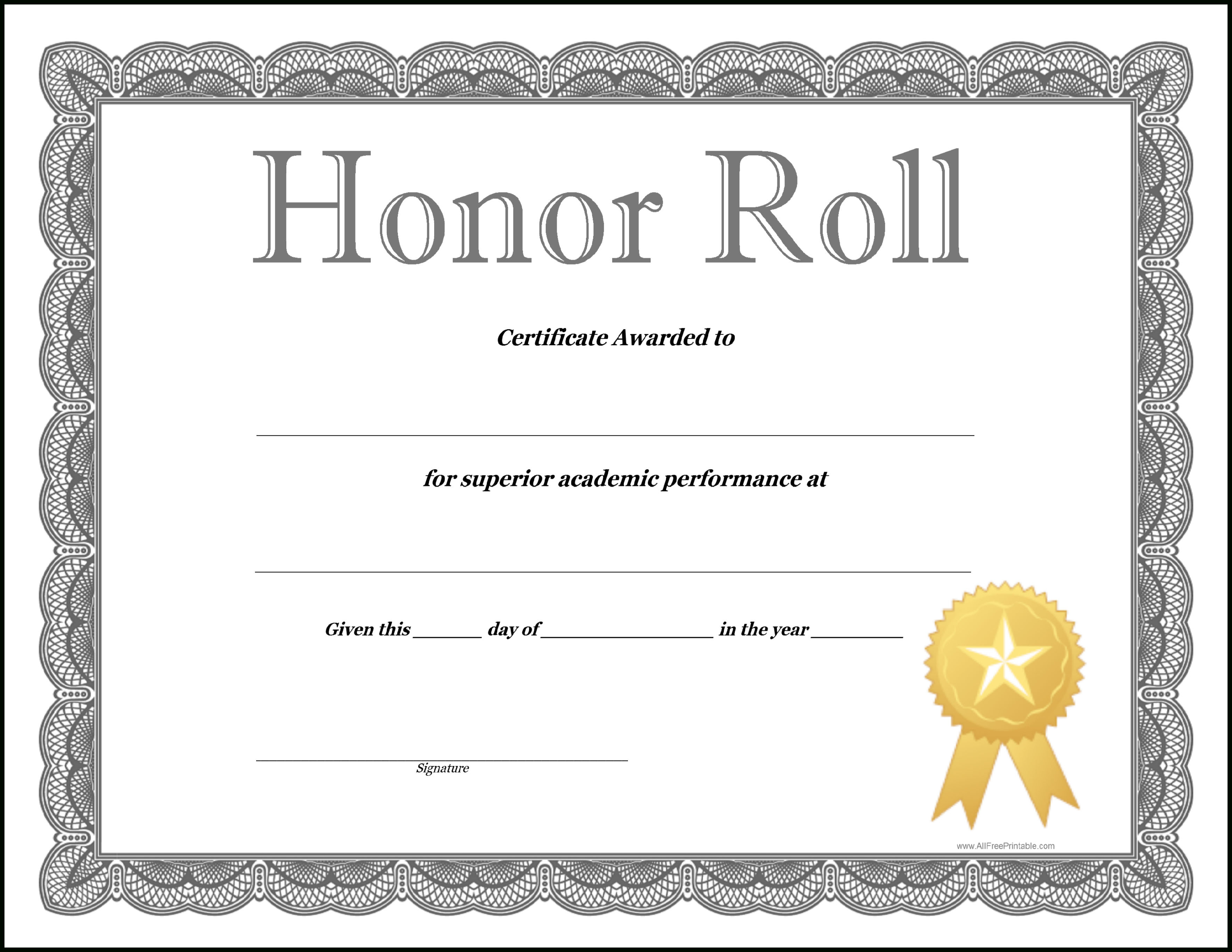 Honor Roll Certificate Template - How To Craft A Professional - Free Printable Honor Roll Certificates Kids