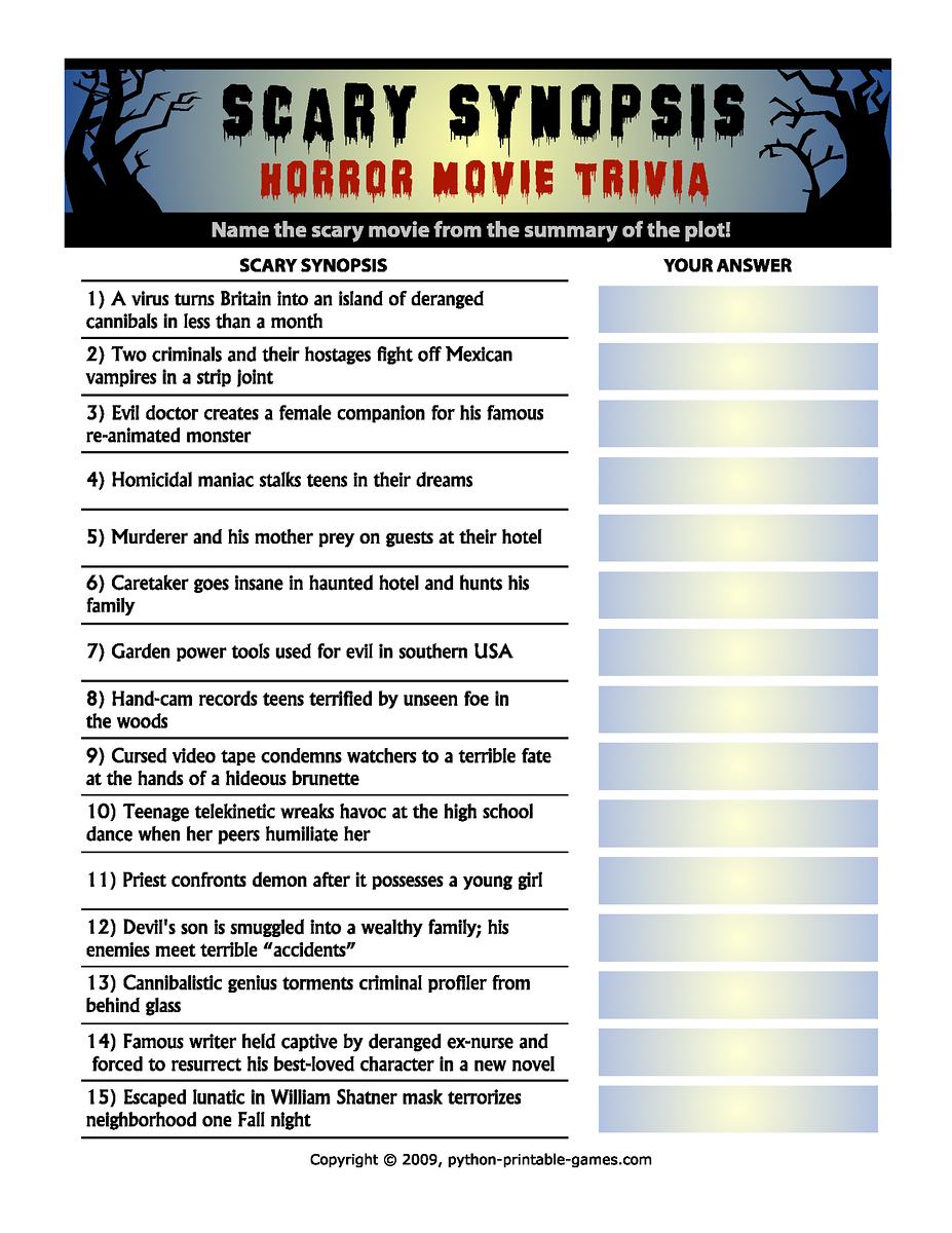 Horror Movie Trivia: Scary Synopsis   Halloween   Halloween Games - Free Printable Halloween Quiz