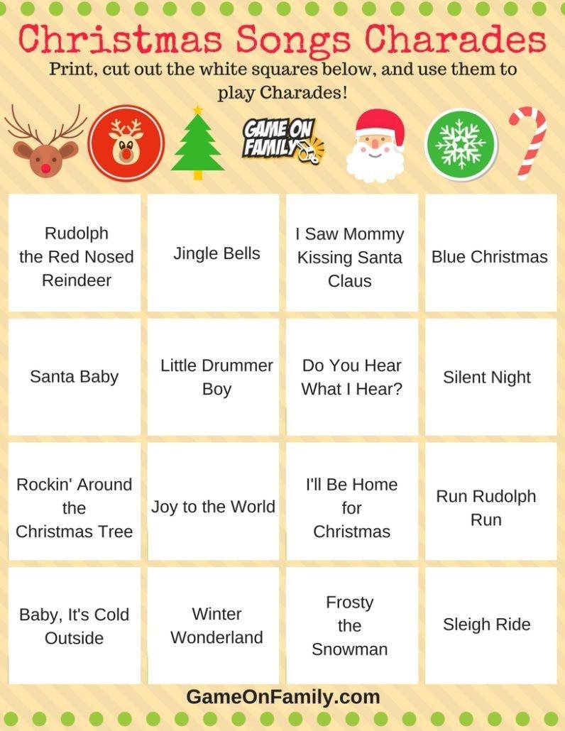 How To Play Christmas Charades: Free Printable Games!   Christmas - Free Printable Christmas Charades Cards