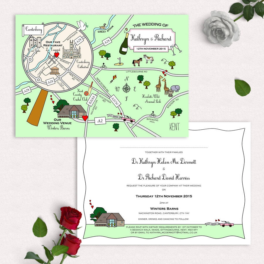Illustrated Map Party Or Wedding Invitationcute Maps - Free Printable Wedding Maps
