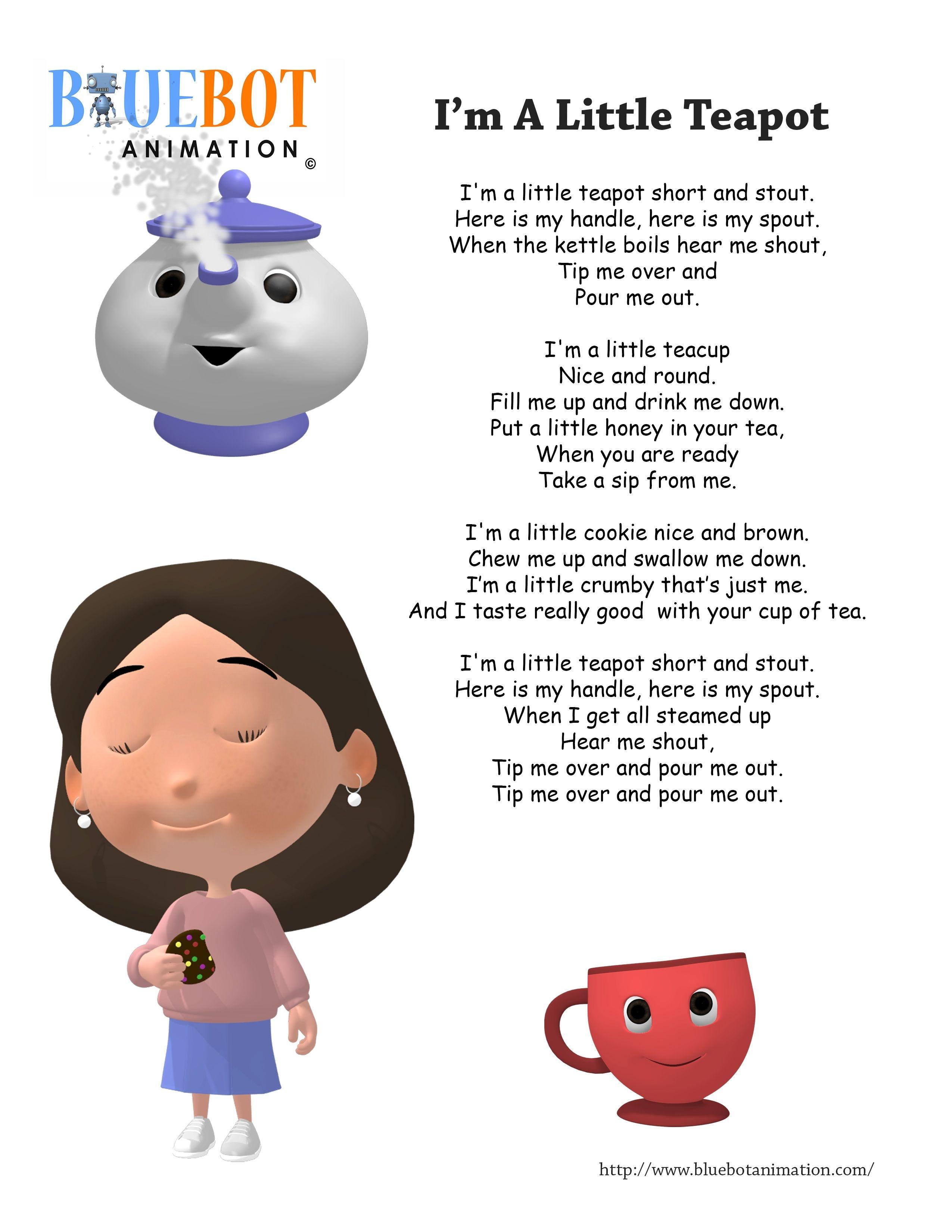 I'm A Little Teapot Nursery Rhyme Lyrics Free Printable Nursery - Free Printable Nursery Rhymes Songs