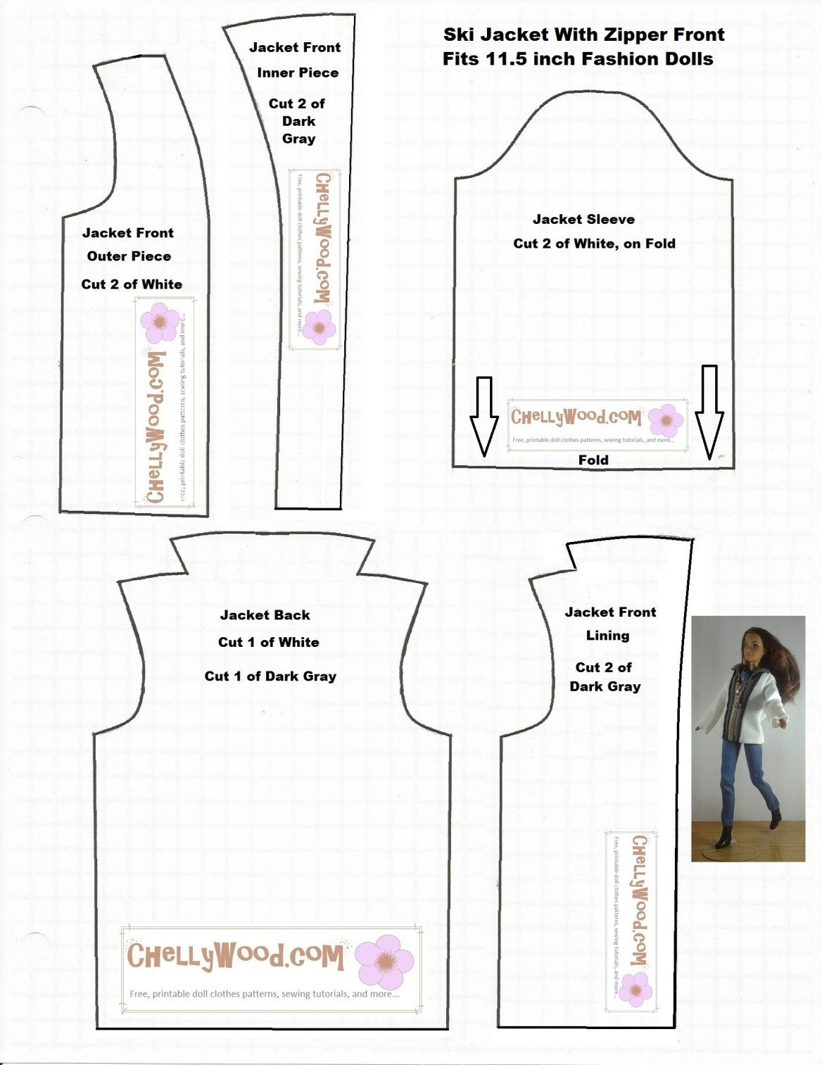 Image Of Printable Sewing Pattern For A Ski Coat Or Winter Jacket To - Free Printable Barbie Doll Sewing Patterns Template