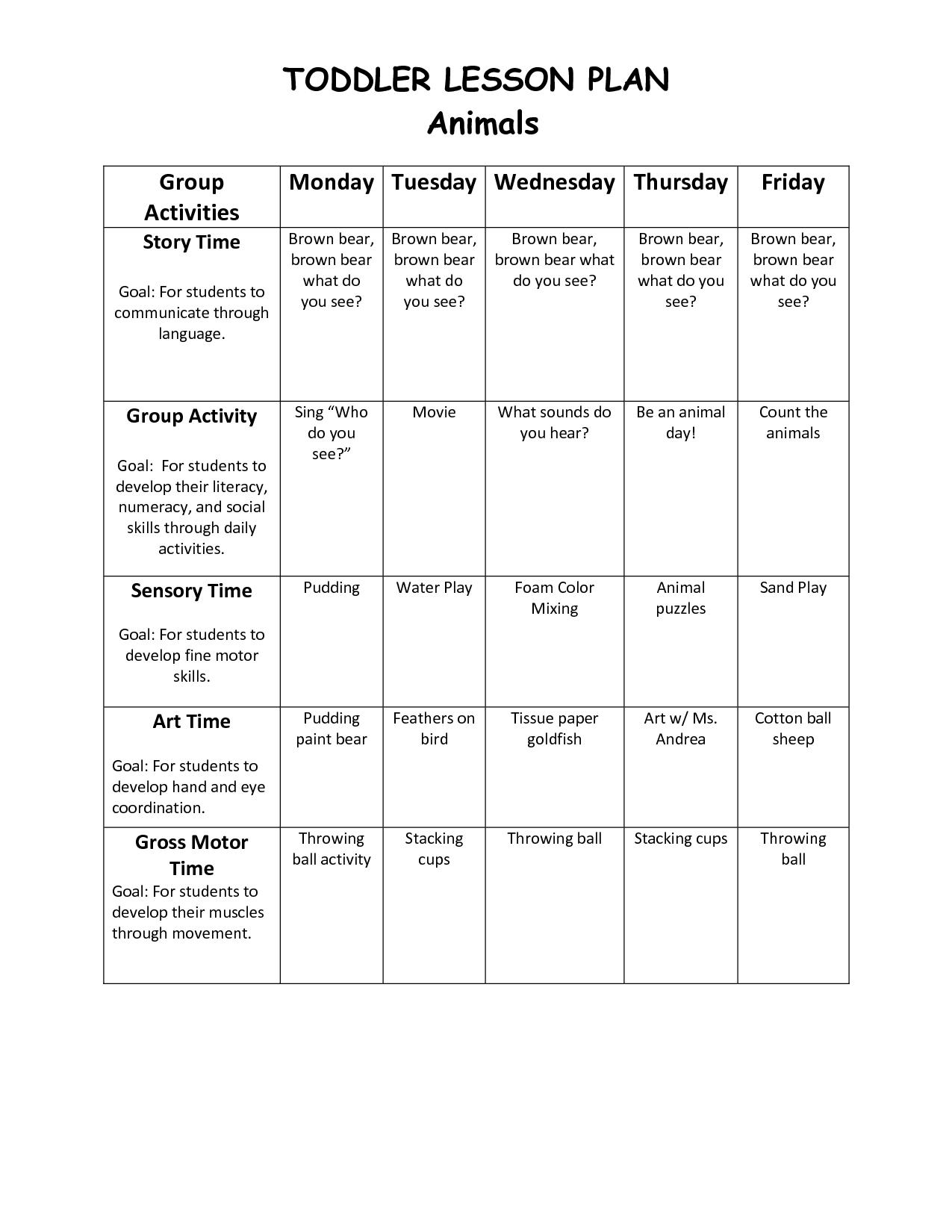 Infant Blank Lesson Plan Sheets | Toddler Lesson Plan 1 | School - Free Printable Preschool Lesson Plans