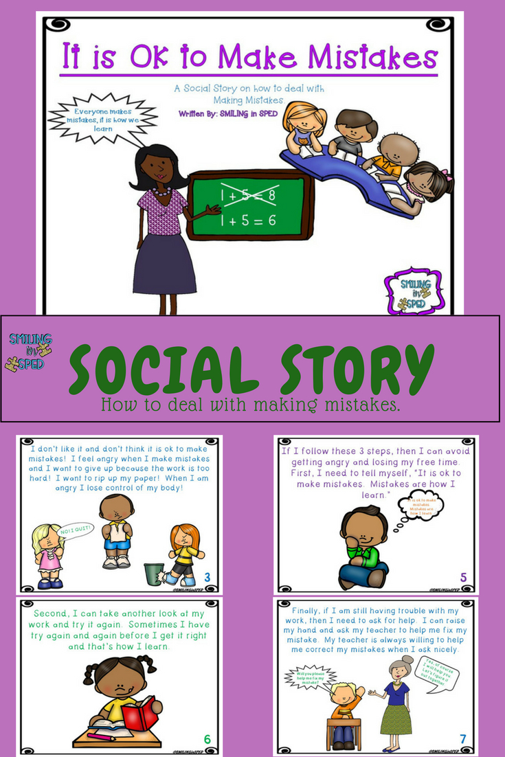 It Is Ok To Make Mistakes (A Social Story)   Social Stories   Social - Free Printable Social Stories Making Friends