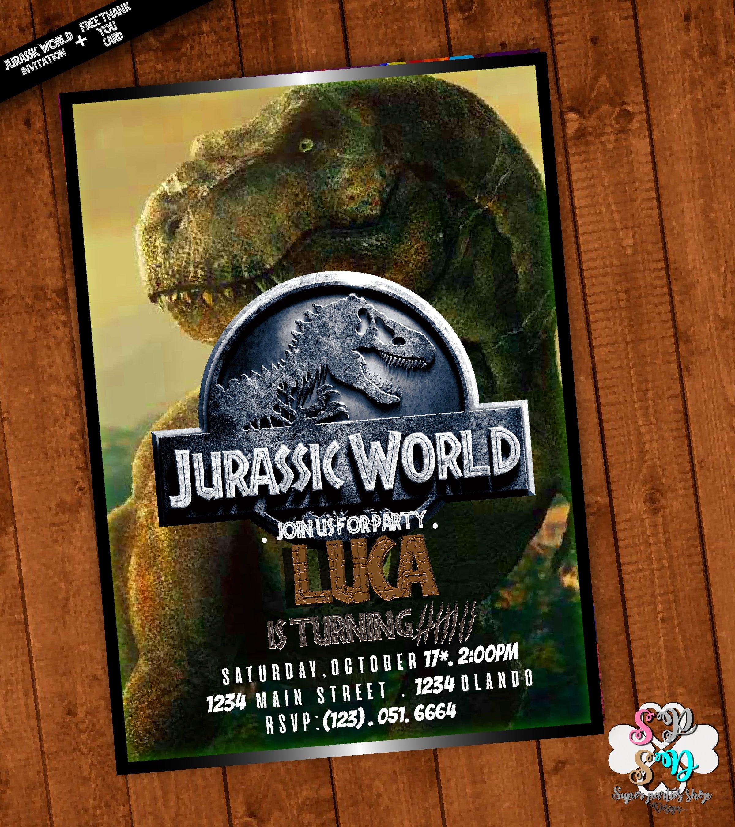 Jurassic World Invitation Printable With Free Thank You Card   Etsy - Free Printable Jurassic Park Invitations