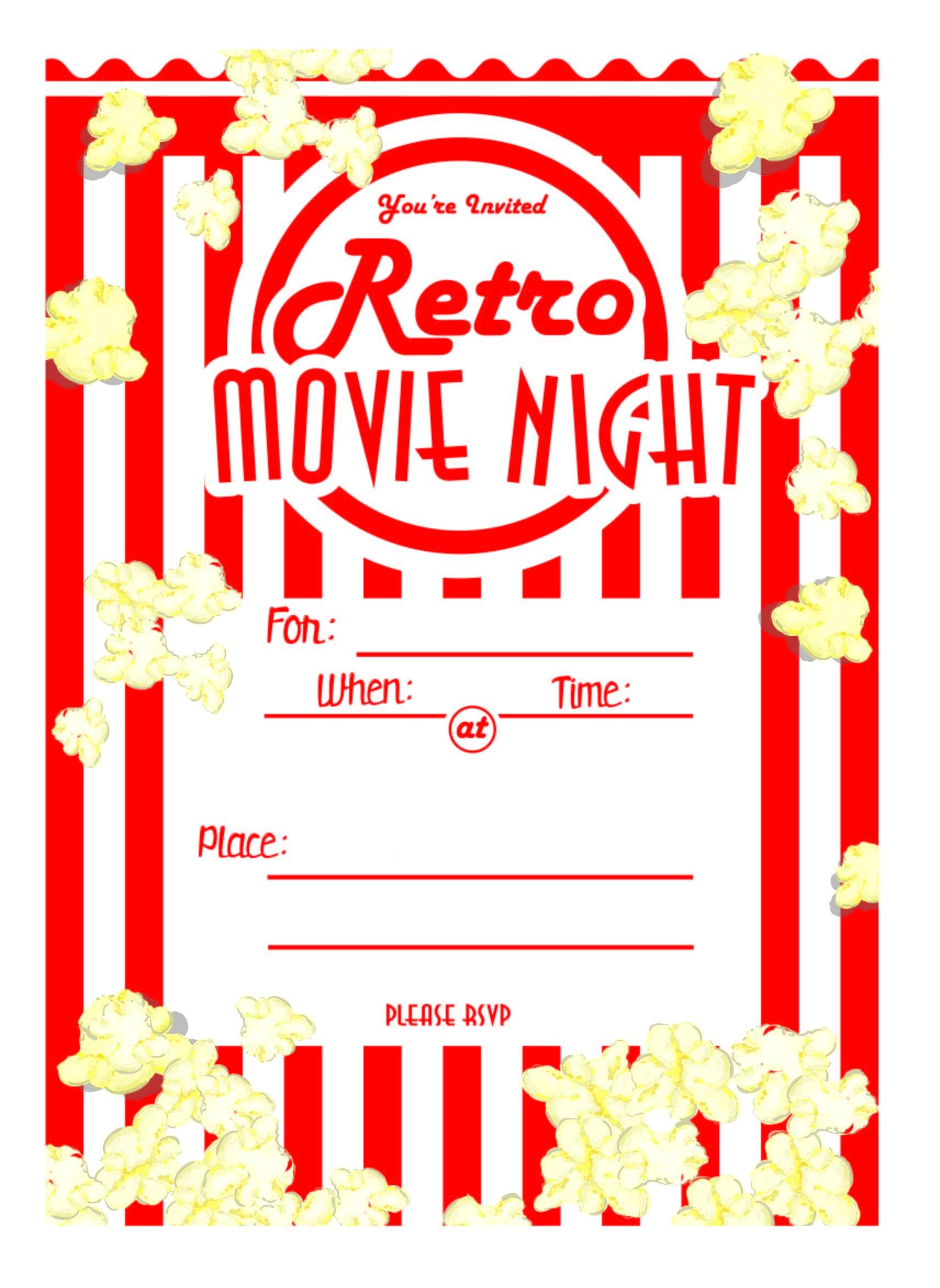 Kara's Party Ideas Movie Night Party With Free Printables! | Kara's - Movie Night Birthday Invitations Free Printable