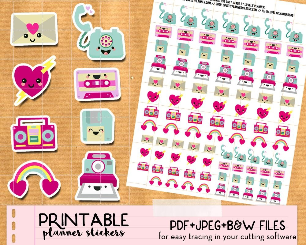 Kawaii Happy Mail Envelope Stickers - Free Printable   Planner - Free Printable Kawaii Stickers