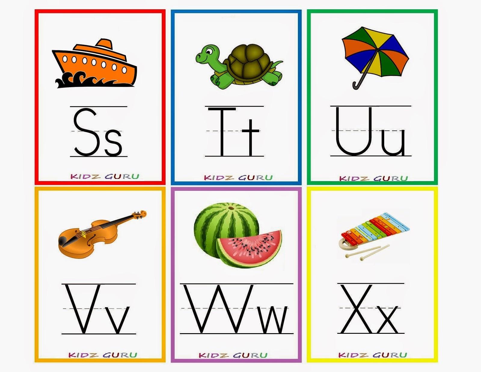 Kindergarten Worksheets: Printable Worksheets - Alphabet Flash Cards 4 - Free Printable Alphabet Cards With Pictures