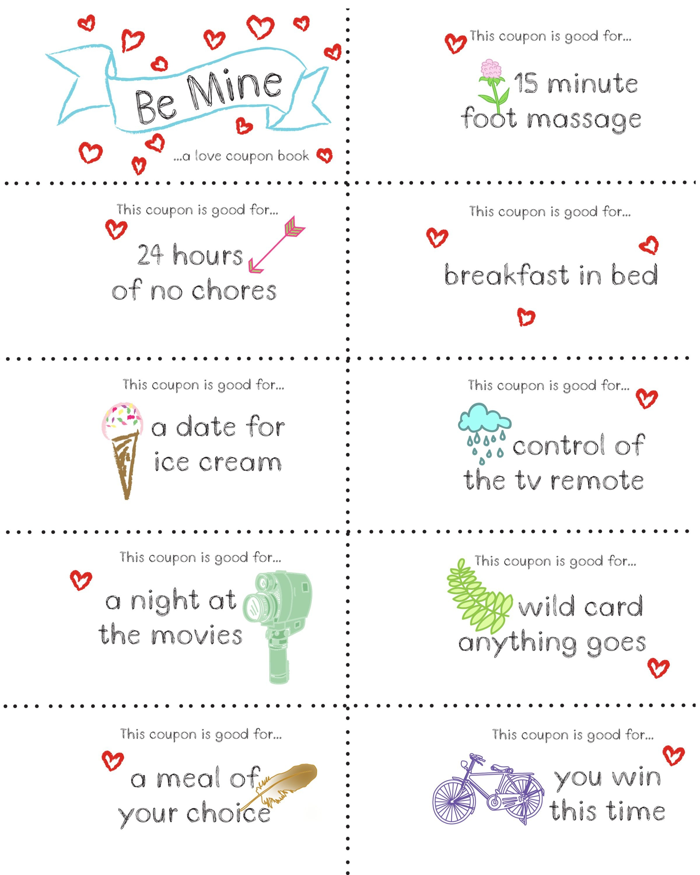Last Minute Valentine Free Coupon Book Printable | Seasonal | Diy - Free Printable Coupon Book For Boyfriend