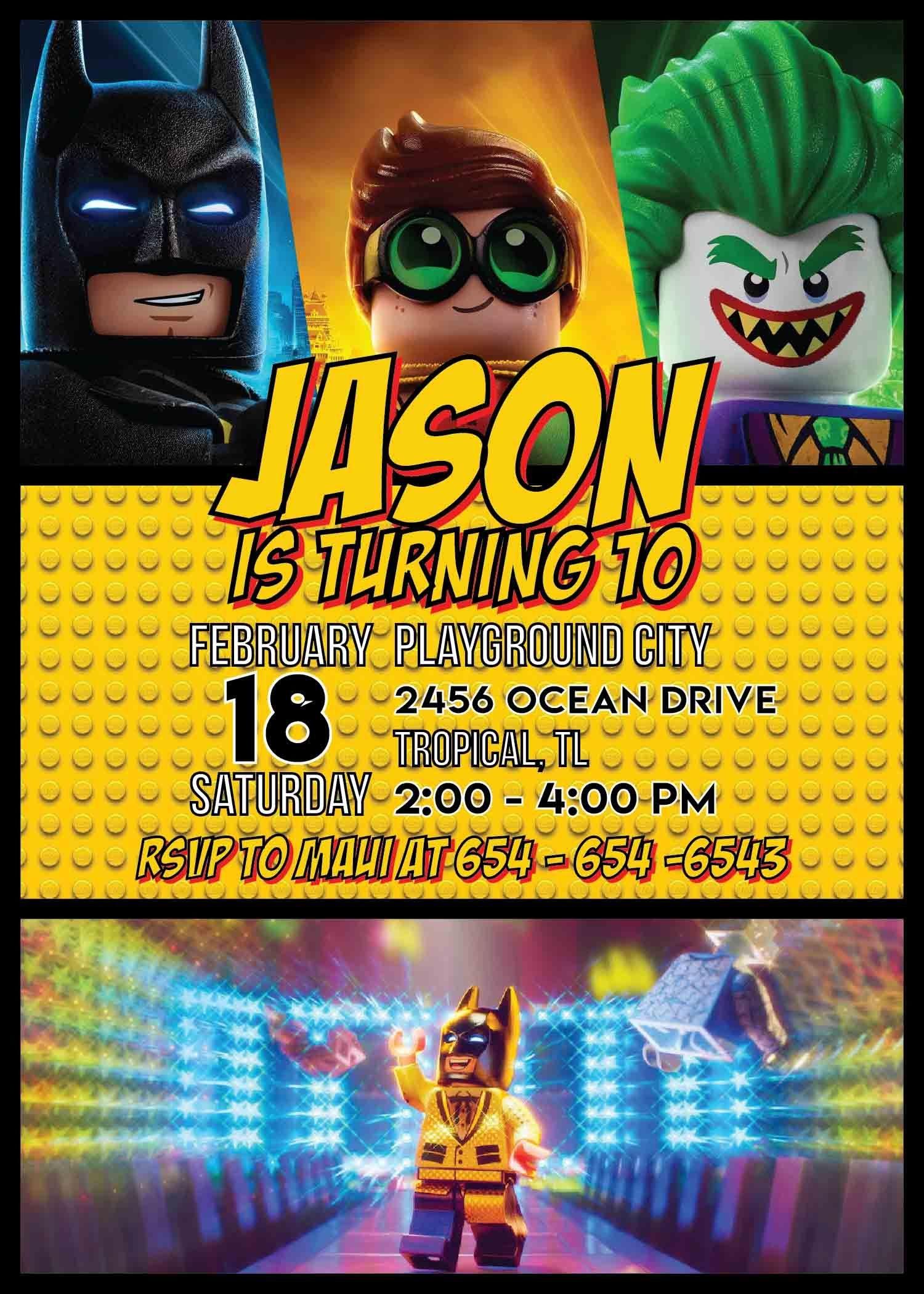 Lego Batman Party Invitation Template In 2019   Lego Batman Party - Lego Batman Party Invitations Free Printable