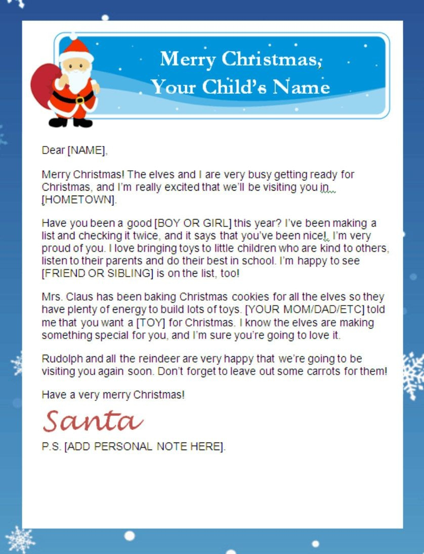 Letter From Santa Templates Free   Printable Santa Letters - Free Santa Templates Printable