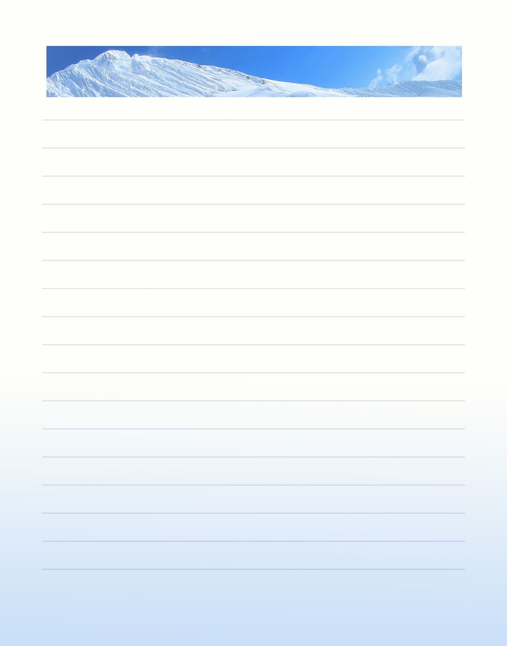 Lined Winter Free Printable Stationary (Stationery) | *stationery - Free Printable Winter Stationery