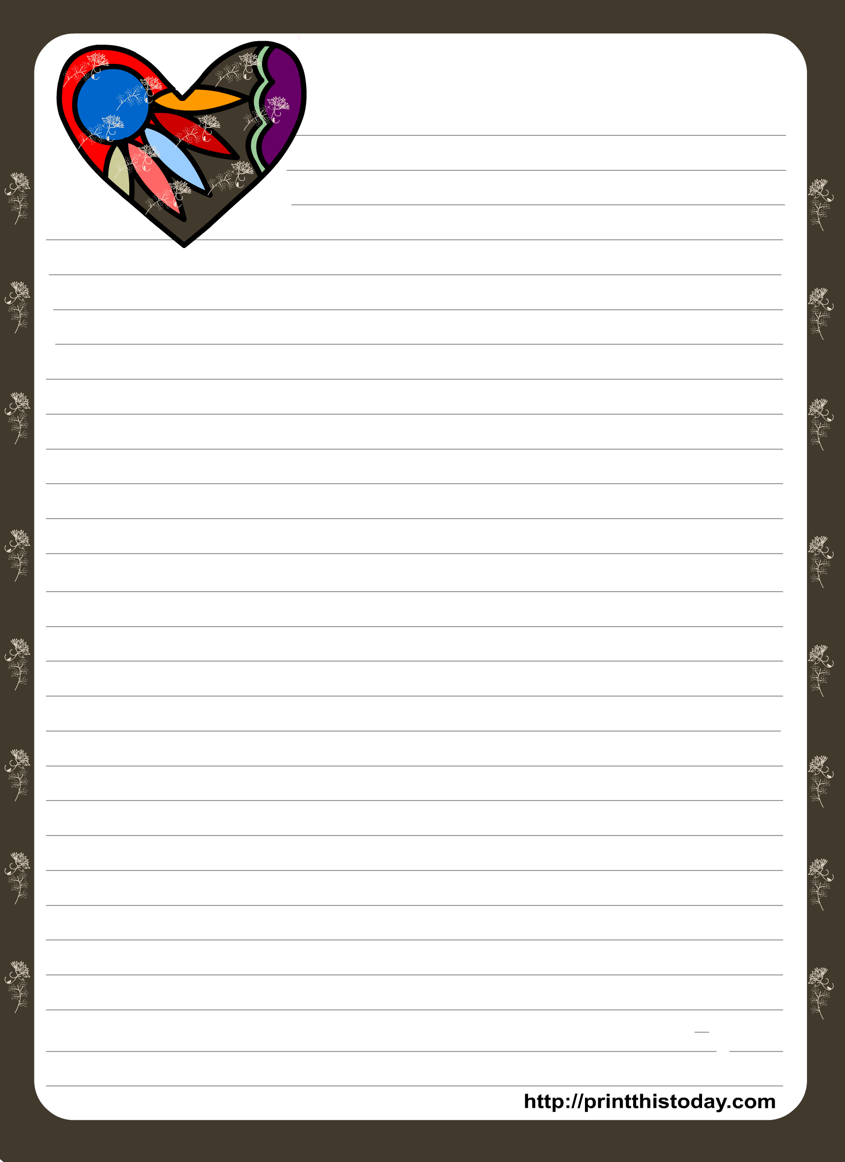 Love Letter Pad Stationery With Colorful Heart   Organization - Free Printable Golf Stationary
