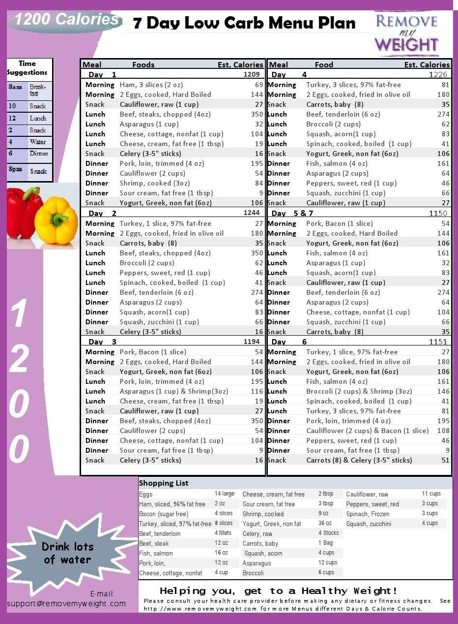Low Carb Diet Menu Plan - Free Printable 7 Day 1200 Calories A Day - Free Printable 1200 Calorie Diet Menu