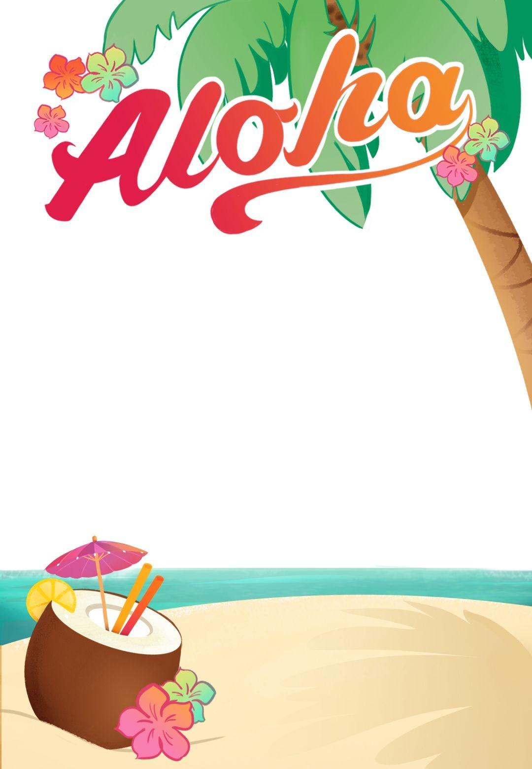 Luau Party - Free Printable Summer Party Invitation Template - Free Printable Luau Clipart