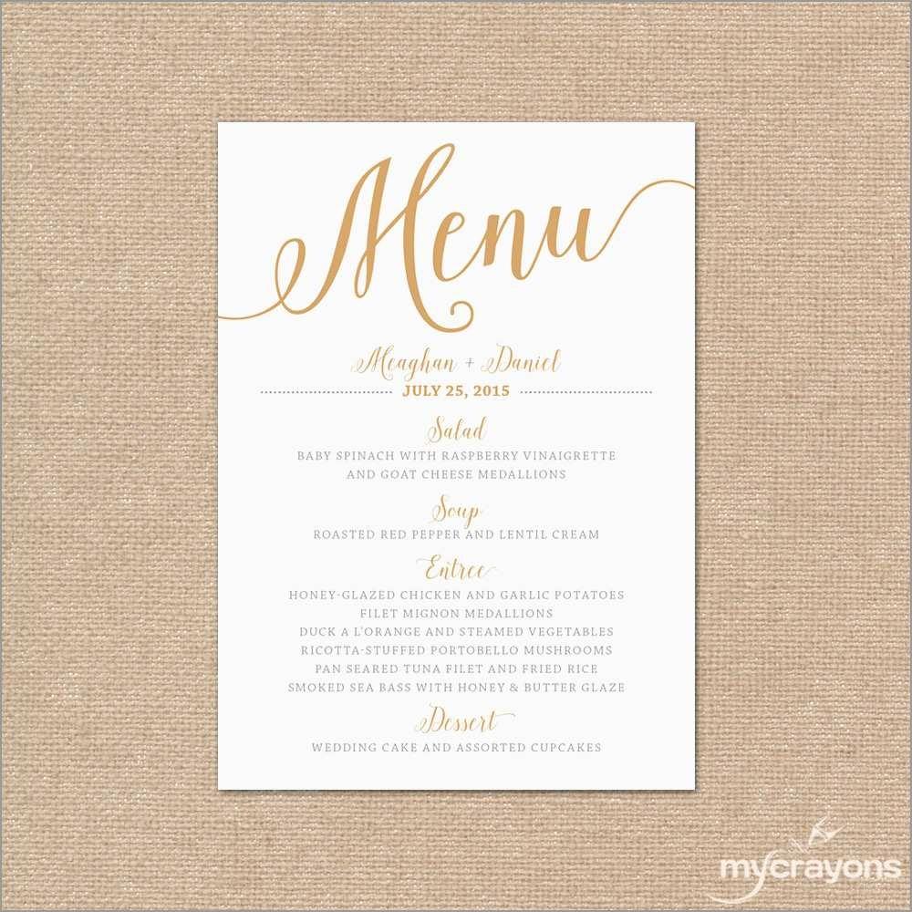 Luxury Free Wedding Menu Template   Best Of Template - Free Printable Wedding Menu Card Templates