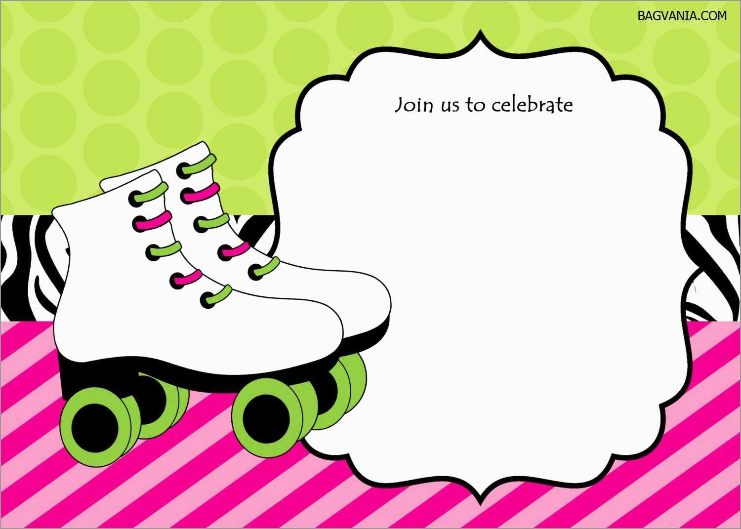 Luxury Skating Party Invitation Template Free | Best Of Template - Free Printable Roller Skate Template