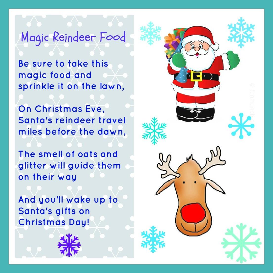 Magic Reindeer Food Free Printable - Momhomeguide - Reindeer Food Poem Free Printable