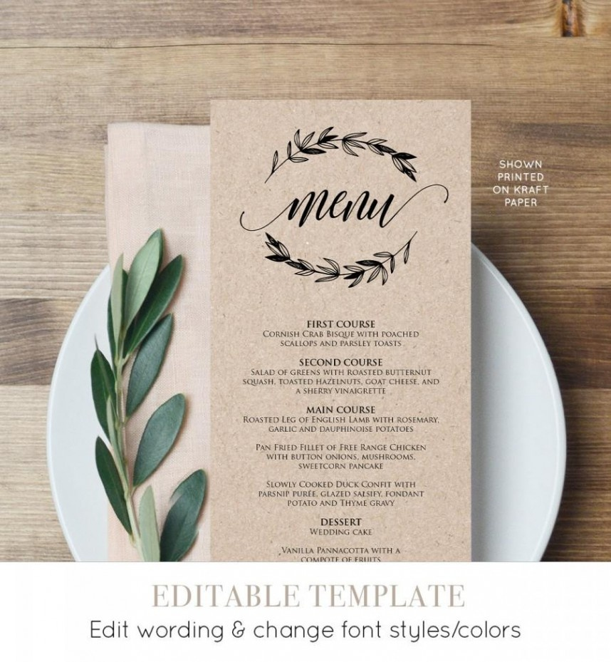 Magnificent Wedding Menu Card Templates Template Ideas Free - Free Printable Wedding Menu Card Templates