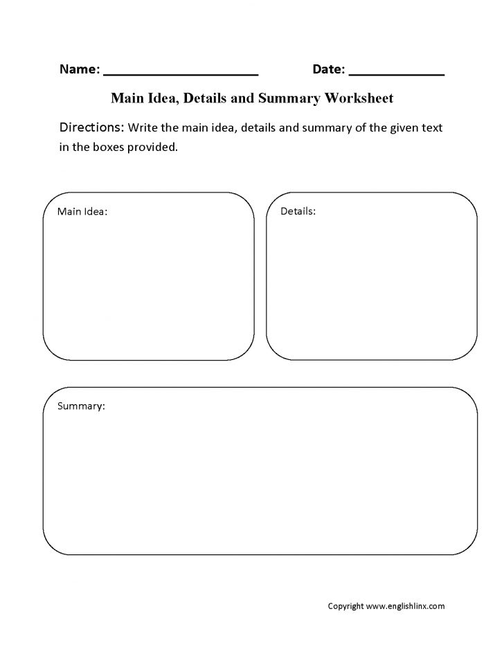 Free Printable Main Idea Graphic Organizer