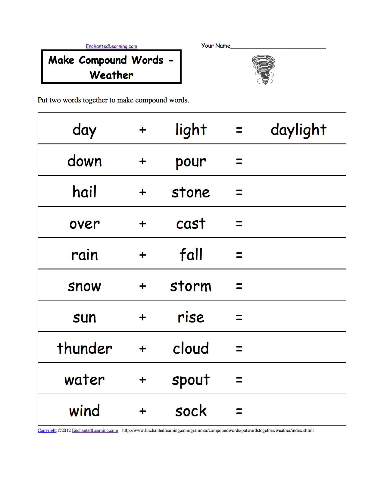 Make Compound Words, Printable Worksheets. Enchantedlearning - Free Printable Science Worksheets For Grade 2