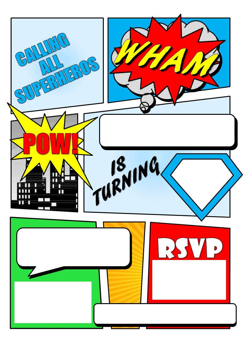 Make Your Own Comic Book Printable | Superhero Comic Book Party - Make Your Own Birthday Party Invitations Free Printable