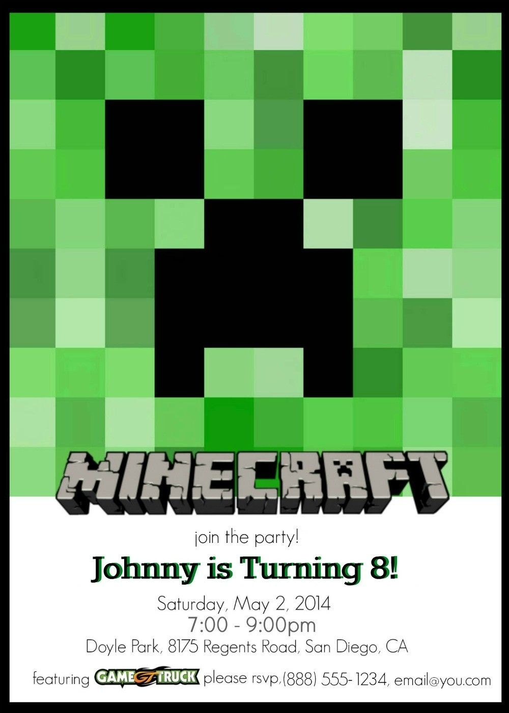 Make Your Own Custom Printable Minecraft Party Invitations - Make Your Own Birthday Party Invitations Free Printable