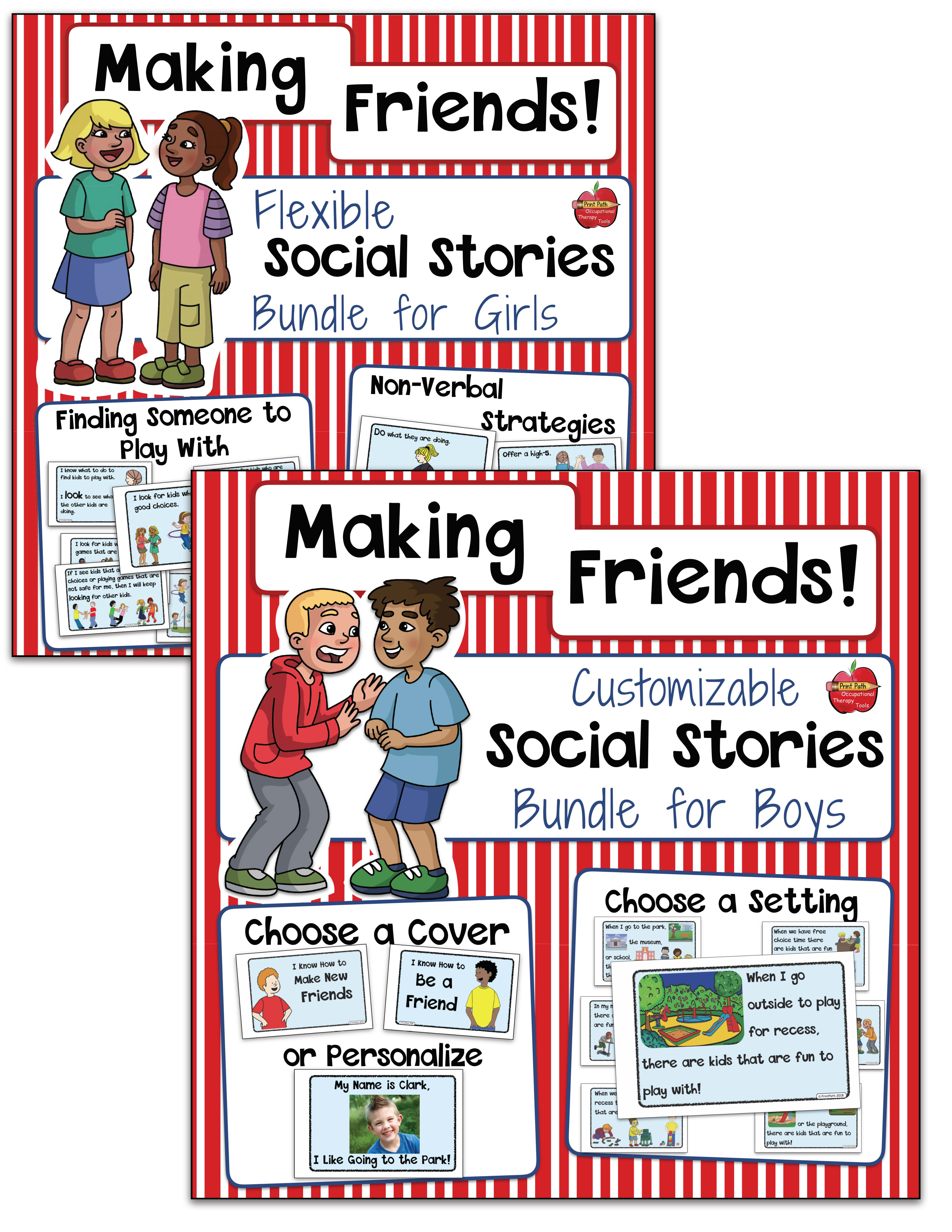 Making Friends Social Stories For Girls And/or Boys - Flexible And - Free Printable Social Stories Making Friends