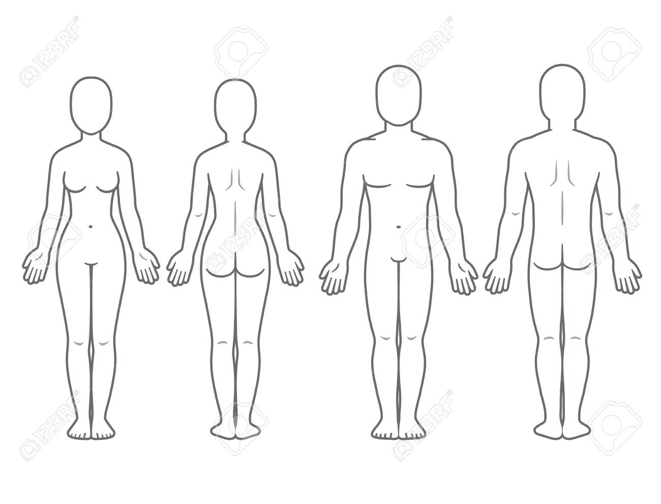 Male And Female Body Front And Back View. Blank Human Body Template - Free Printable Human Body Template