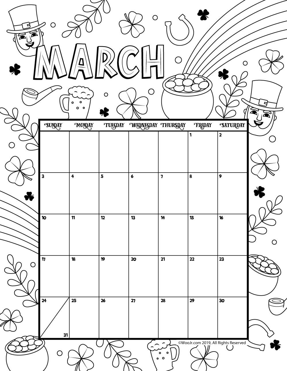 March 2019 Coloring Calendar | Daycare Funcare!! | March Calendar - Free Printable March Activities