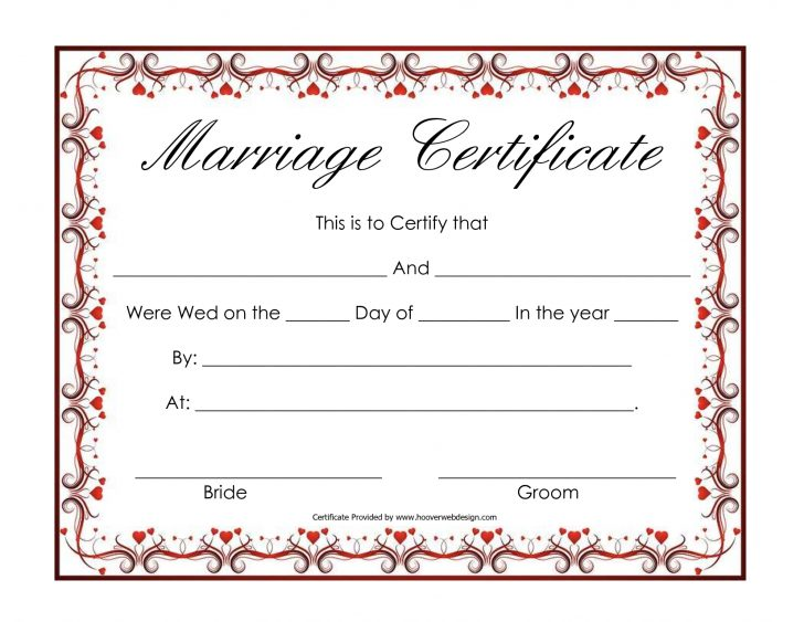 Fake Marriage Certificate Printable Free