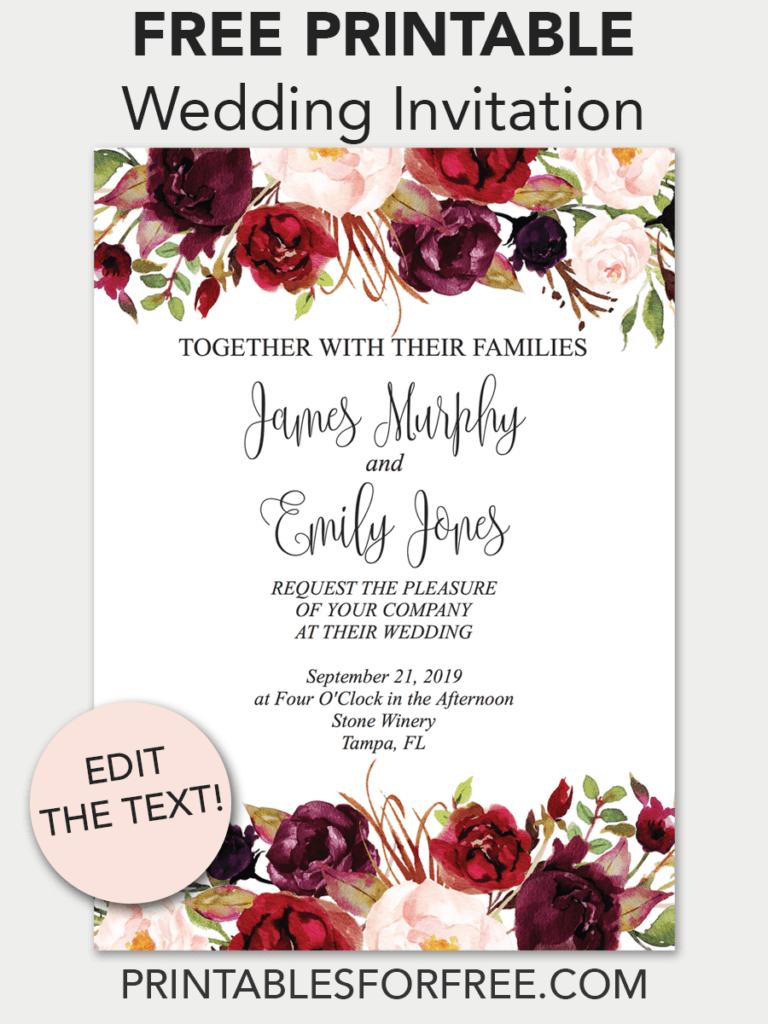 Marsala Floral Printable Wedding Invitation | Invitations - Free - Free Printable Wedding Invitations Templates Downloads