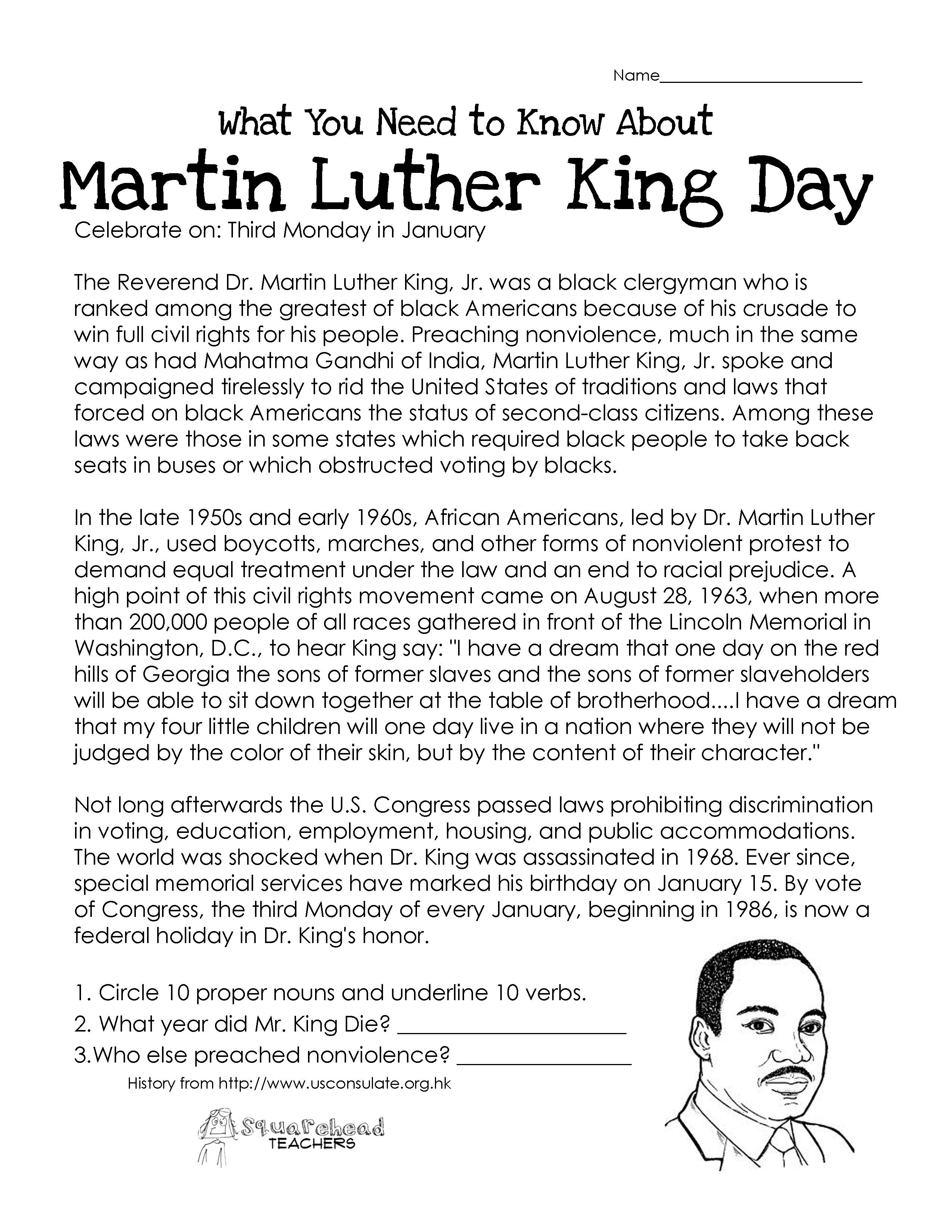 Martin Luther King Day (Free Worksheet) | Squarehead Teachers - Free Printable Martin Luther King Jr Worksheets For Kindergarten