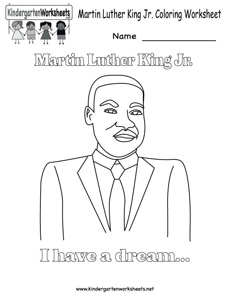 Martin Luther King Jr Coloring Pages | Martin Luther King Coloring - Free Printable Martin Luther King Jr Worksheets For Kindergarten