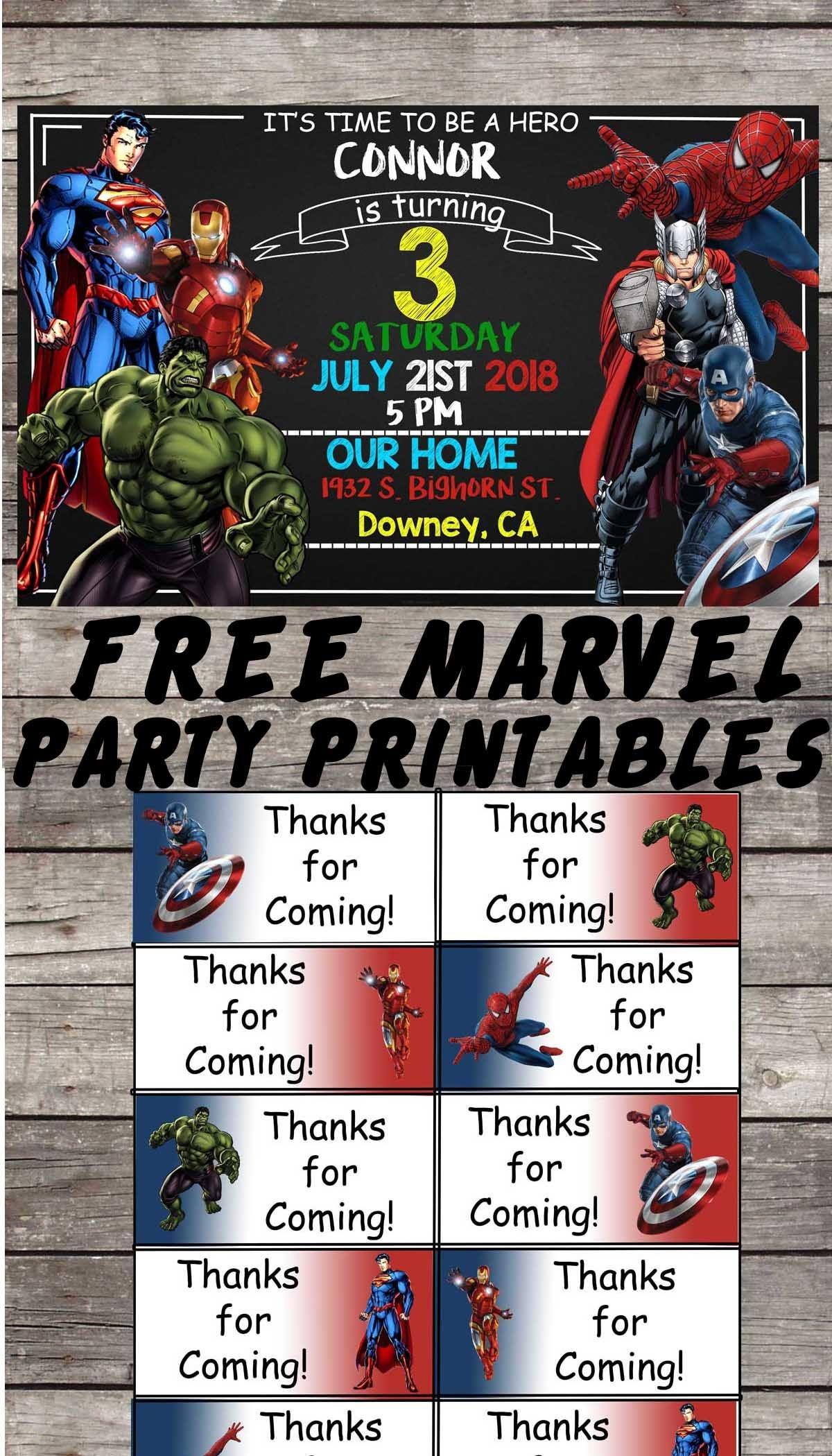 Marvel | Avengers | Birthday Party Printable Files | Invitations - Avengers Party Invitations Printable Free