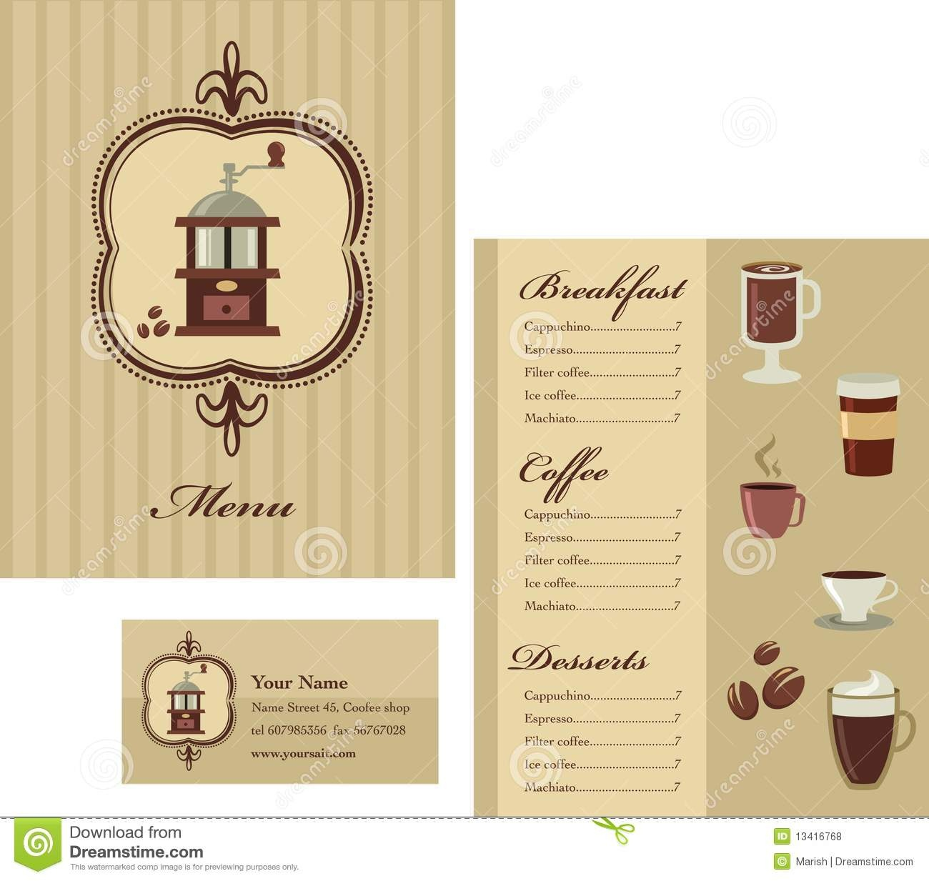 Menu And Business Card Template Design - Coffee Stock Vector - Design A Menu For Free Printable