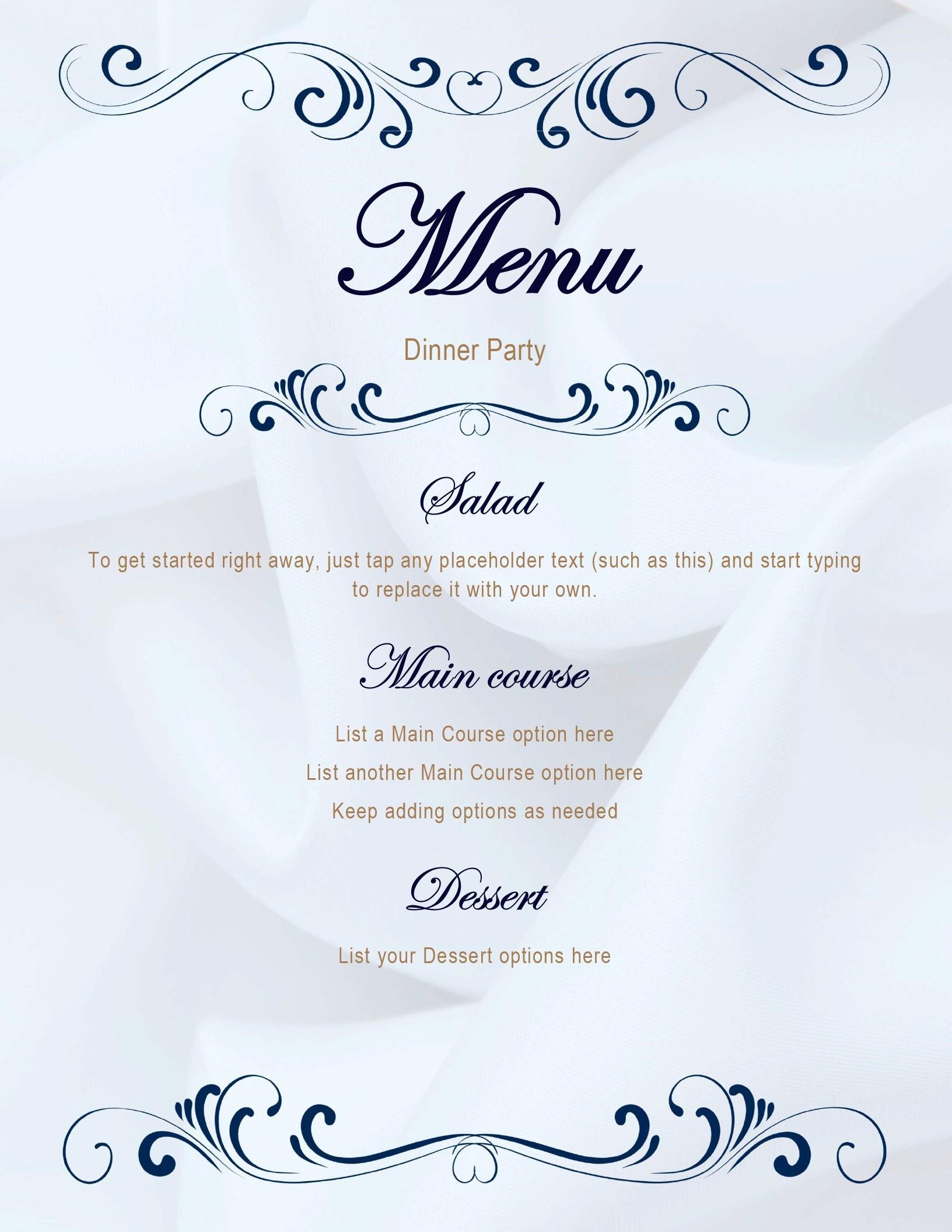 Menus - Office - Free Printable Wedding Menu Card Templates
