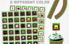 Minecraft Cupcake Topper 2 Color Variations, Minecraft Topper – Free Printable Minecraft Cupcake Toppers And Wrappers