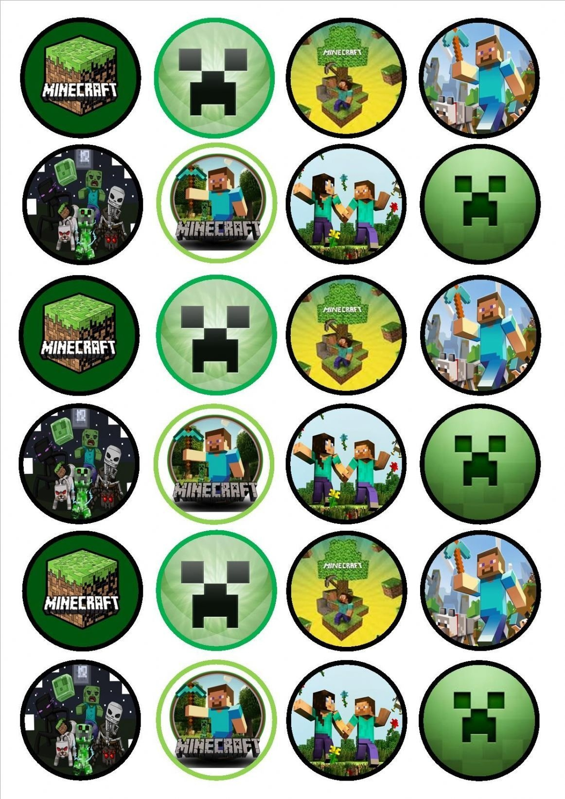 Minecraft Cupcake Toppers Cakepins   Cumple Vicente   Minecraft - Free Printable Minecraft Cupcake Toppers And Wrappers