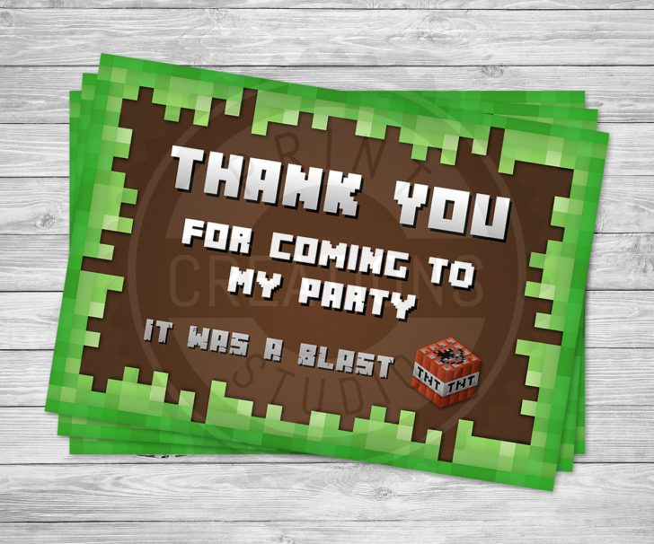 Free Printable Minecraft Thank You Notes
