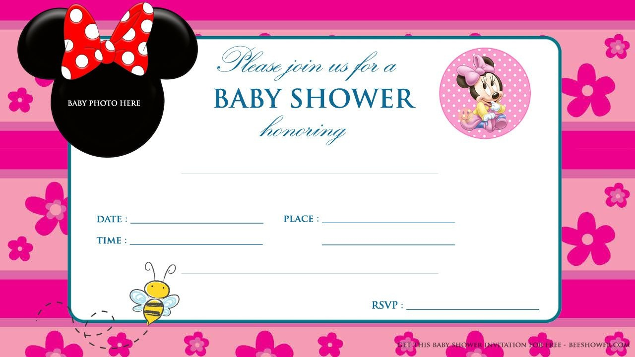 Minnie Mouse Baby Shower Invitations | Party Design Ideas | Minnie - Free Printable Blank Baby Shower Invitations