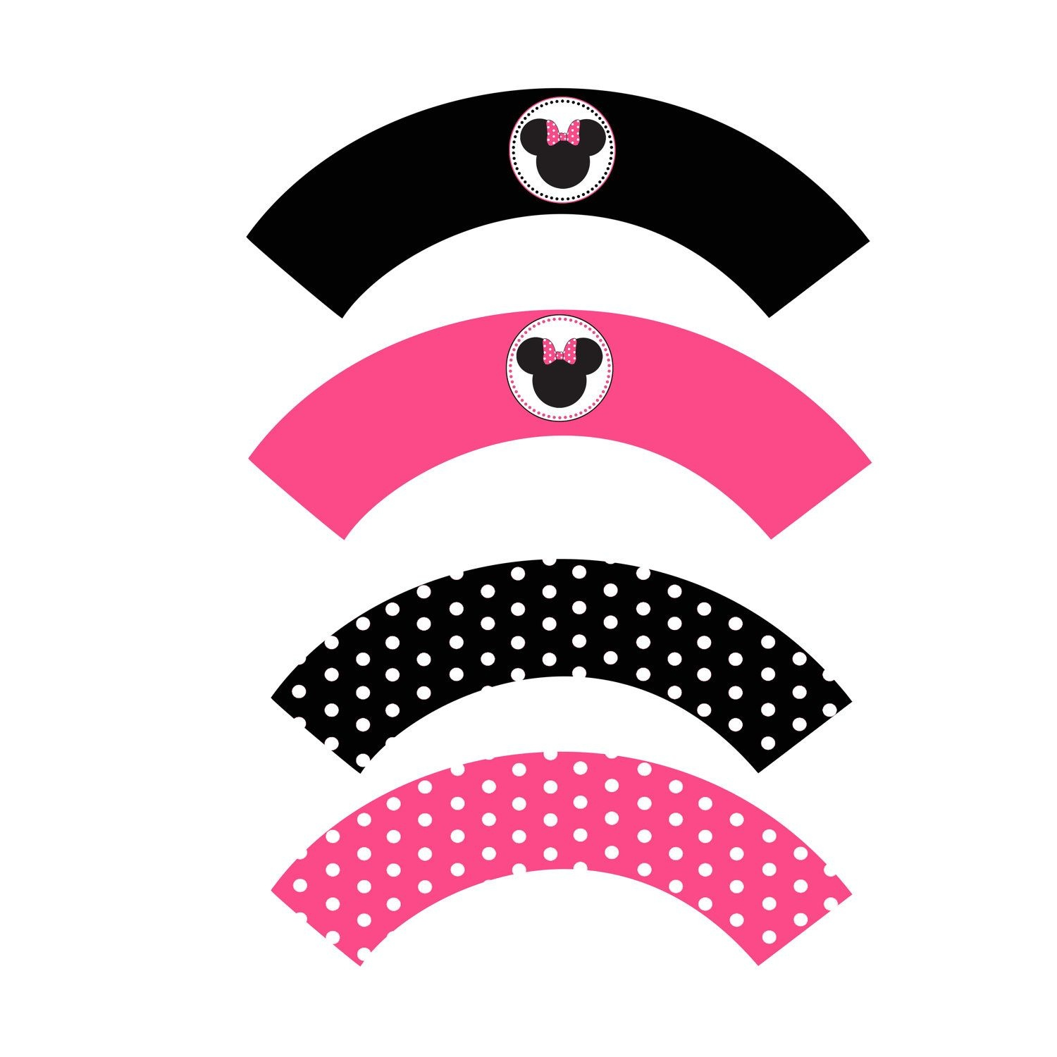 Minnie Mouse Birthday Party Printable Cupcake Wrappers Pink Black - Free Printable Minnie Mouse Cupcake Wrappers
