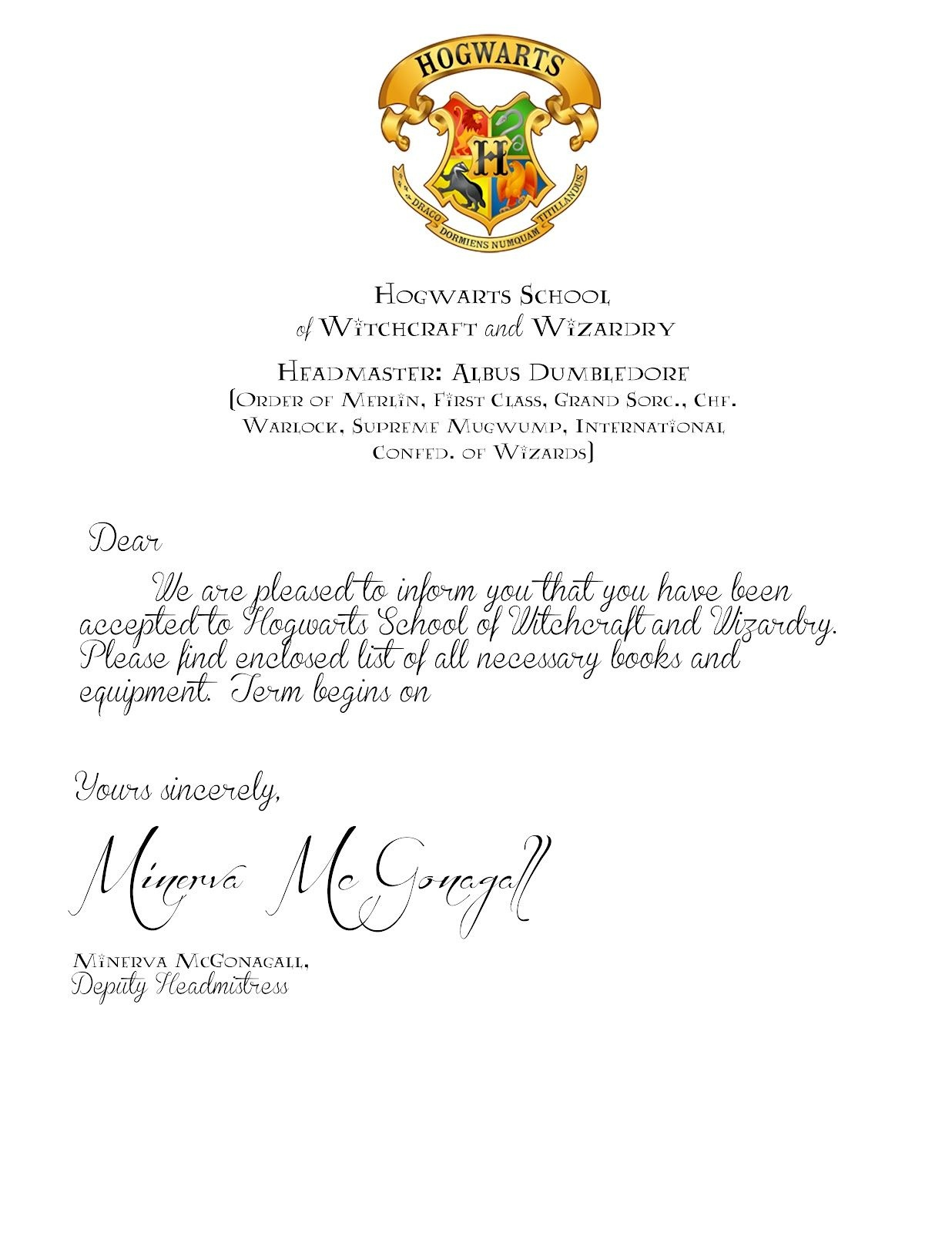My Cotton Creations: Family Life: Harry Potter Party Free Printables - Hogwarts Acceptance Letter Template Free Printable