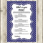 Navy Modern What's In Your Cellphone Baby Shower Games   What's In Your Cell Phone Game Free Printable